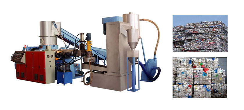 Waste plastic cleaning and recycling equipment.